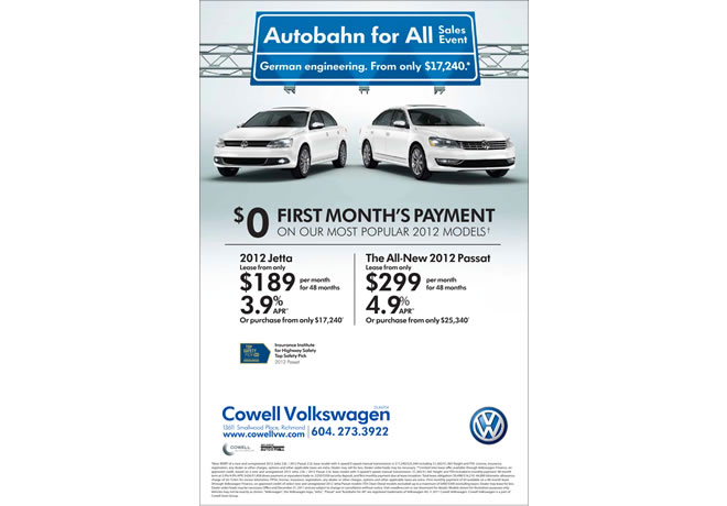 Cowell Volkswagen Autobahn for All Campaign Print Ad